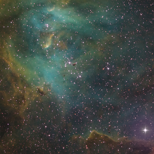 IC 2944 Running Chicken Nebula in Synthetic Color